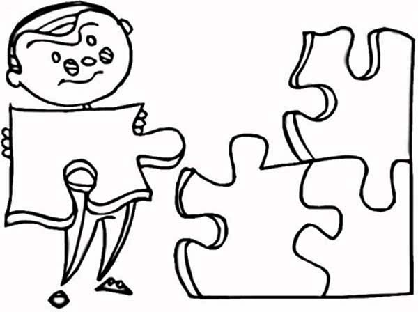 Puzzles, : Kid Putting on Puzzles Pieces Coloring Page