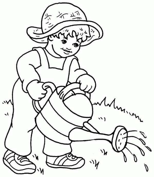 Plants, : Kid Watering Plants Coloring Page