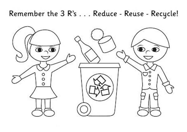 Recycling, : Kids Collecting Recycling Waste Coloring Page