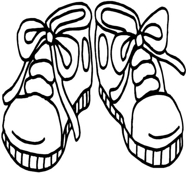 Shoes, : Kids Drawing Shoes Coloring Page