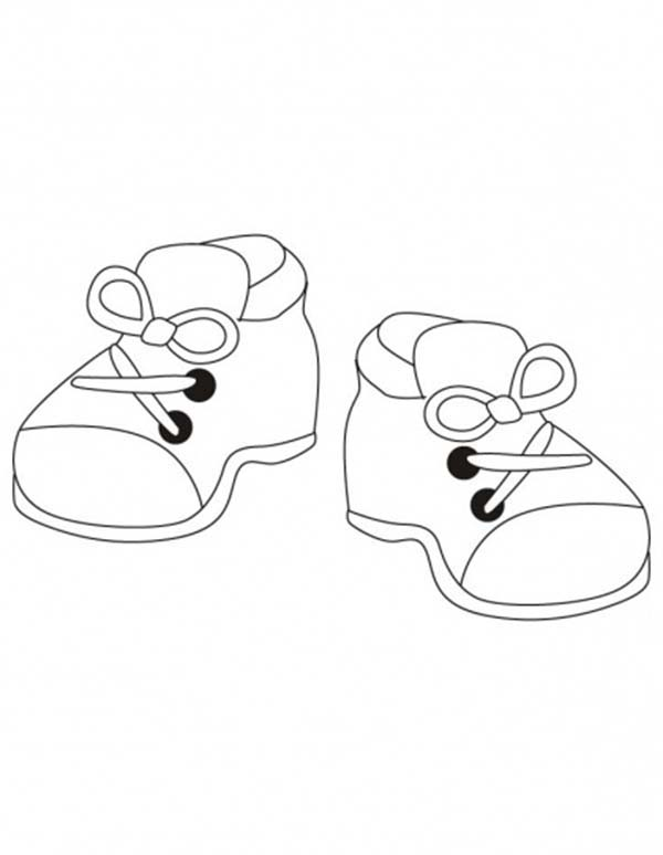 Shoes, : Kindergarten Kids Shoes Coloring Page