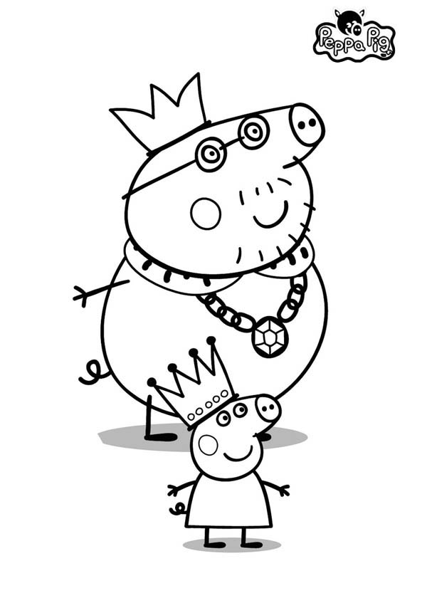 Peppa Pig, : King and Prince Peppa Pig Coloring Page