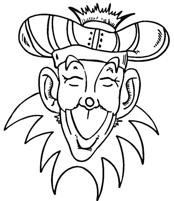 Silly Face, : King of Mardi Gras Festival Silly Face Coloring Page