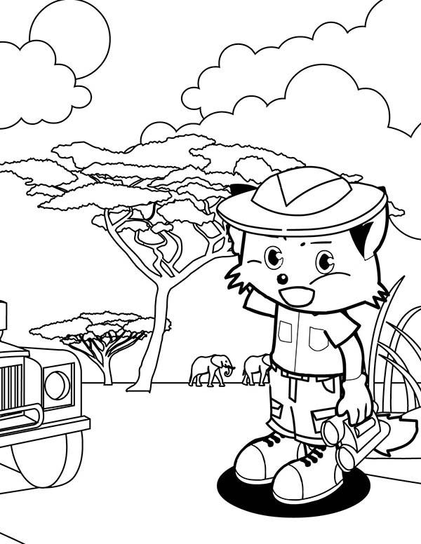 Safari, : Kitty Going to Safari Coloring Page