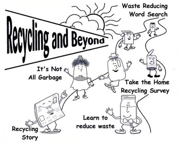 Recycling, : Learn to Recycling Waste Coloring Page