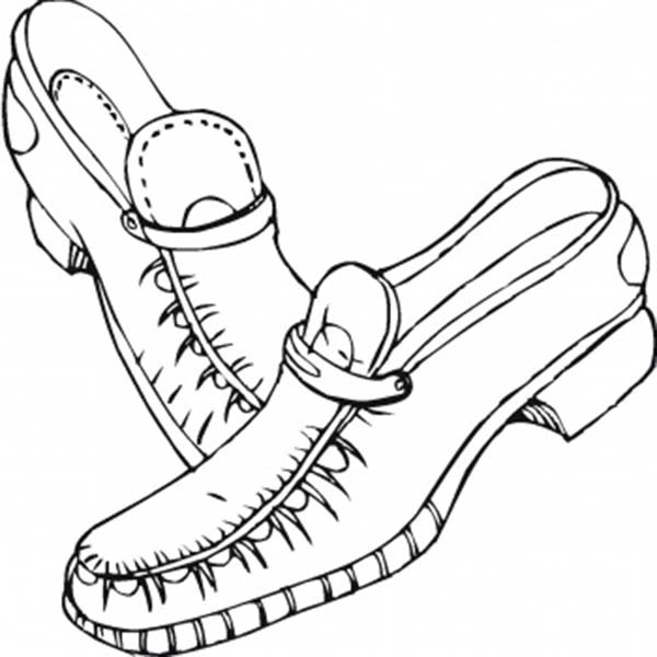 Shoes, : Leather Shoes Coloring Page