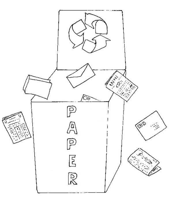 Recycling, : Lets Recycling Used Paper Coloring Page