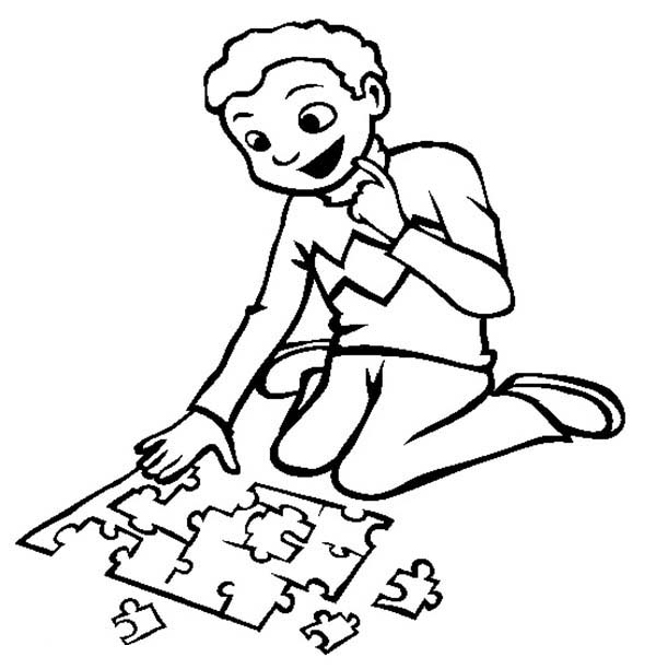 Puzzles, : Little Boy Playing Puzzles Coloring Page