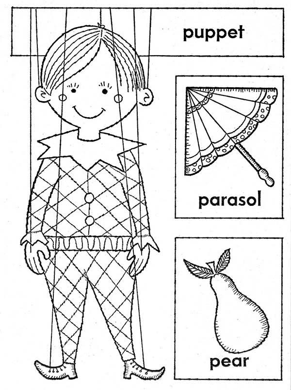 Puppet, : Little Boy Puppet Coloring Page