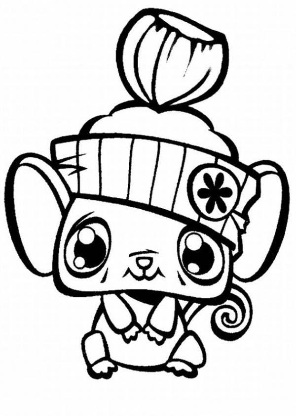 Pet, : Little Cute Pet Hamster Coloring Page