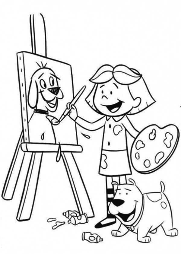 Paint, : Little Girl Paint Picture of Her Dog Coloring Page