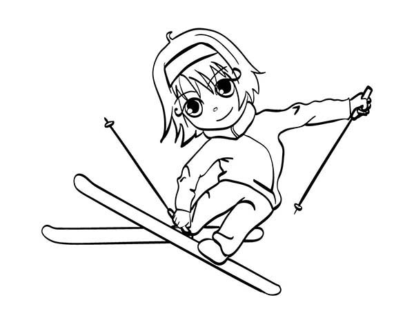 Skiing, : Little Girl Skiing Coloring Page