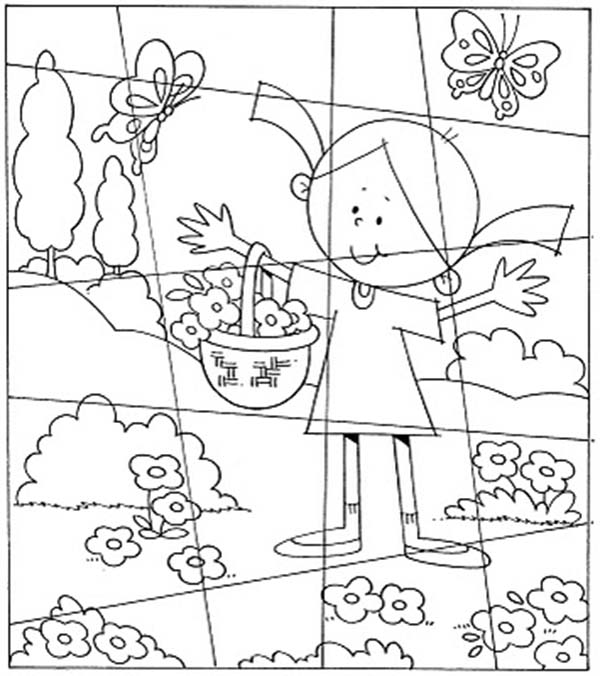 Puzzles, : Little Girl in the Flower Garden Puzzles Coloring Page