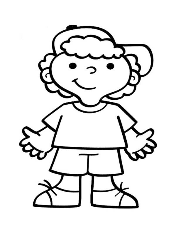 People, : Little People Wear Hat Coloring Page