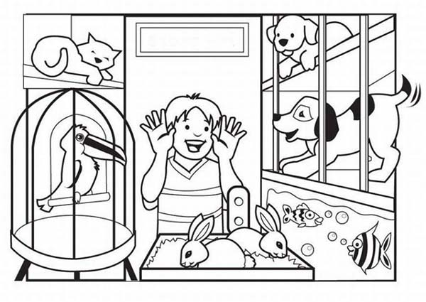 Pet, : Looking for Pet at Pet Shop Coloring Page