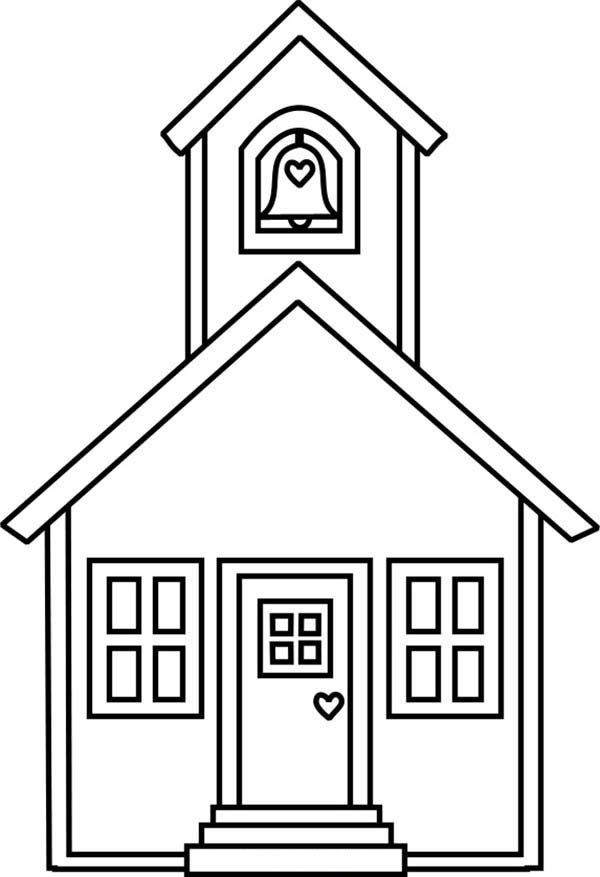 School House, : Lovely School House Coloring Page