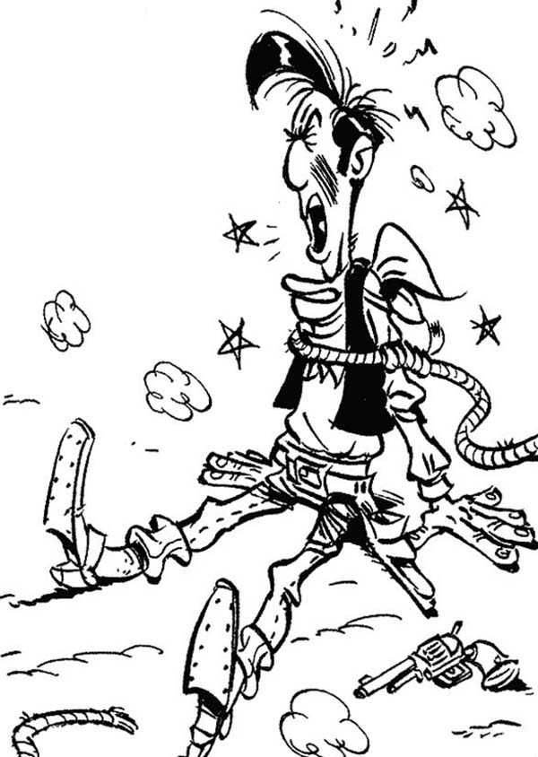 Lucky Luke, : Lucky Luke Catched by the Daltons Coloring Page