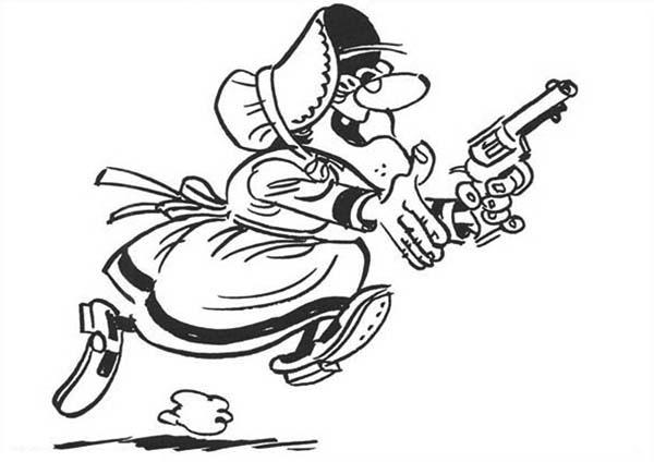 Lucky Luke, : Lucky Luke Grandma Holding a Gun Coloring Page