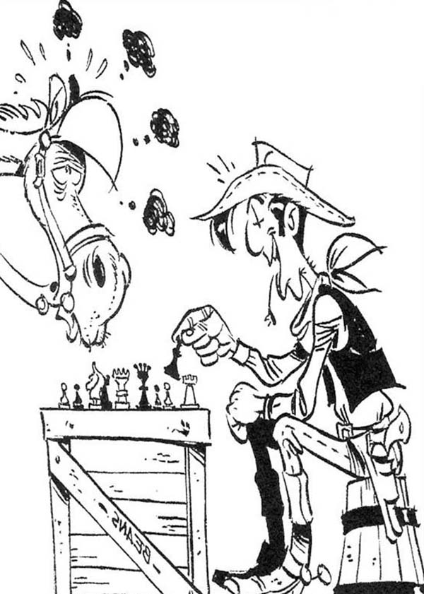 Lucky Luke, : Lucky Luke Playing Chess with Jolly Jumper Coloring Page