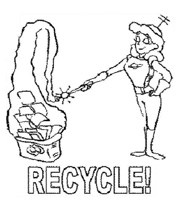 Recycling, : Magically Recycling Things Coloring Page