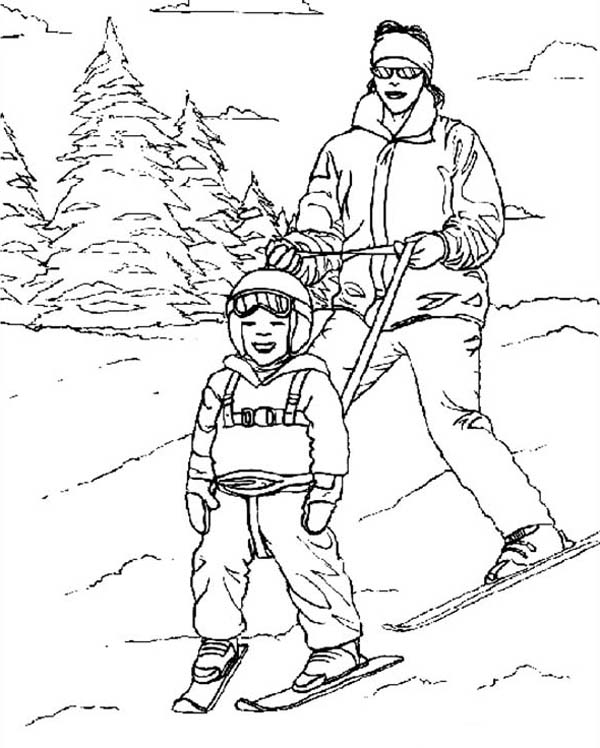 Skiing, : Man Teaching His Son Skiing Coloring Page