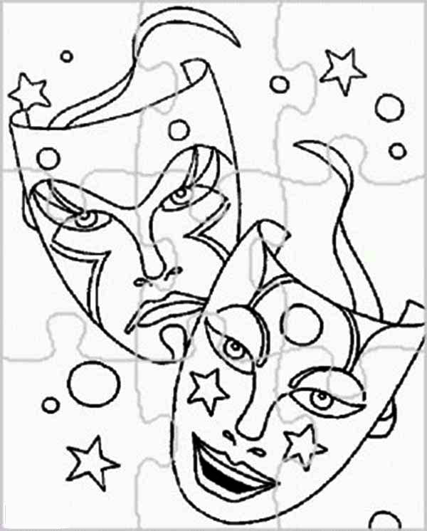 Puzzles, : Mask Carnaval Puzzles Coloring Page