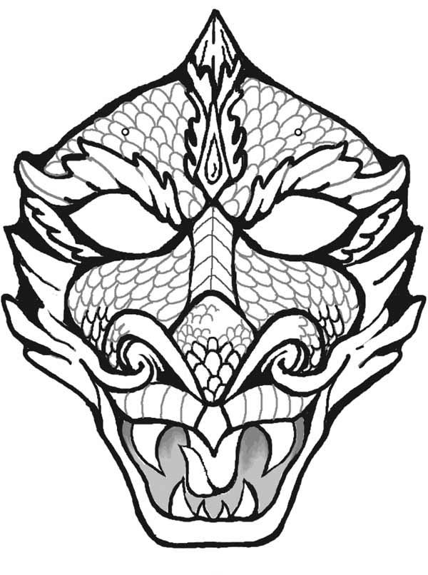 Mask Of Dragon Coloring Page