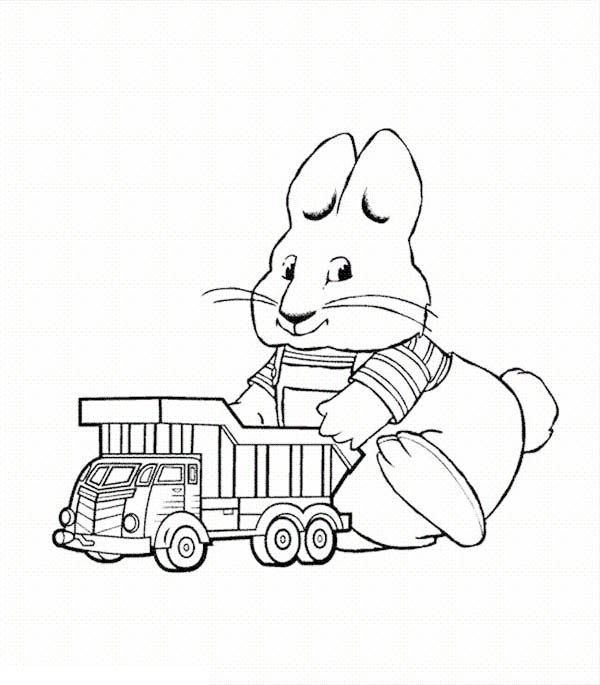 Max & Ruby, : Max Play with His Dump Truck Toy in Max and Ruby Coloring Page
