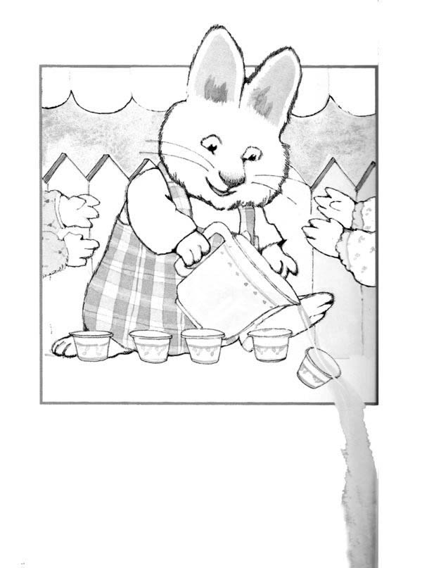 Max & Ruby, : Max Pour Some Water a Glass in Max and Ruby Coloring Page
