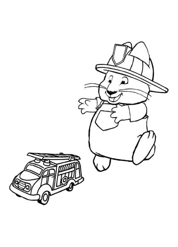 Max & Ruby, : Max Pretend to be a Firefighter in Max and Ruby Coloring Page