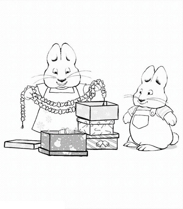 Max And Ruby Want To Decorated House With Christmas Theme Coloring