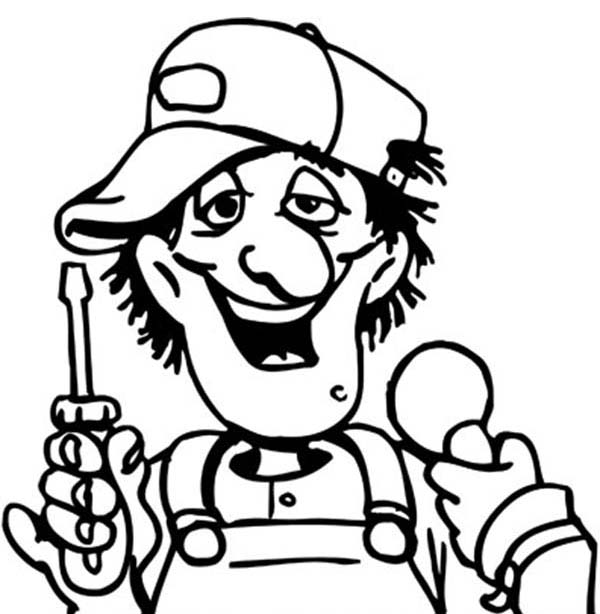 Silly Face, : Mechanic Silly Face Coloring Page