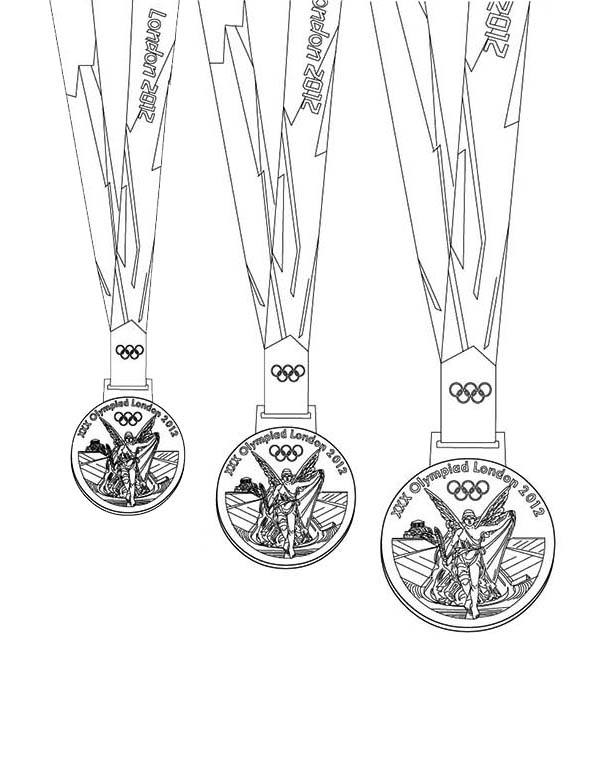 Olympic Games, : Medals for Olympic Games Champion Coloring Page