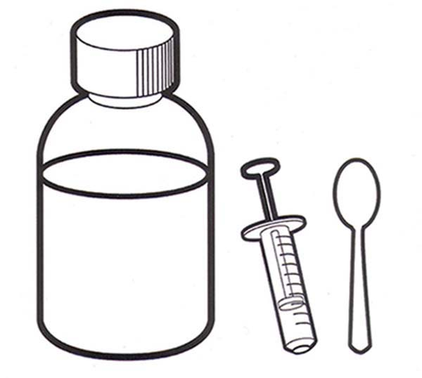 Medicine With Spoon And Syringe For Medical Treatment Coloring Page Coloring Sky