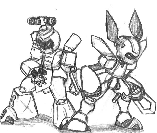 Medabots, : Metabee and Brass Sketch Medabots Coloring Page