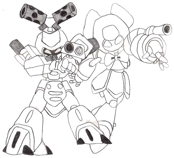 Medabots, : Metabee and Brass Sketch in Medabots Coloring Page