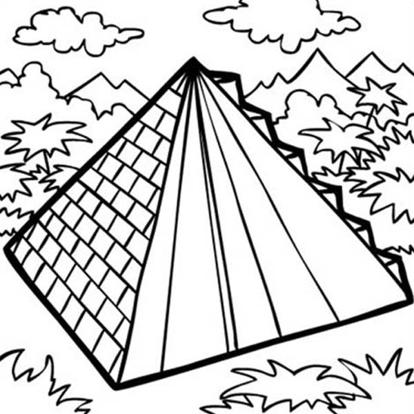 Pyramid, : Mexican Pyramid Building Coloring Page