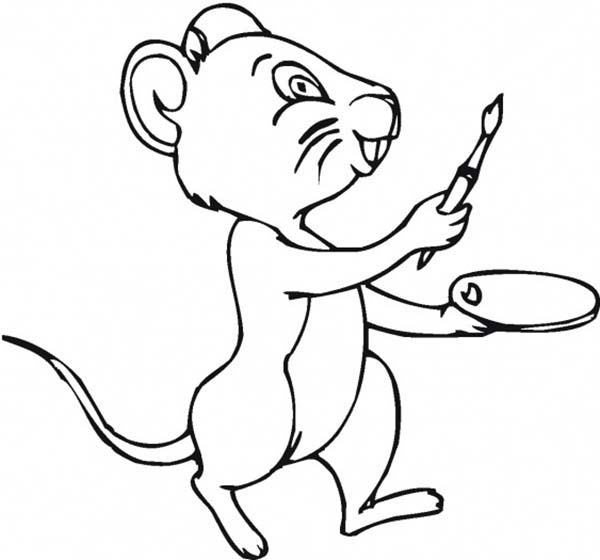 Paint, : Mice Learn to Paint Coloring Page
