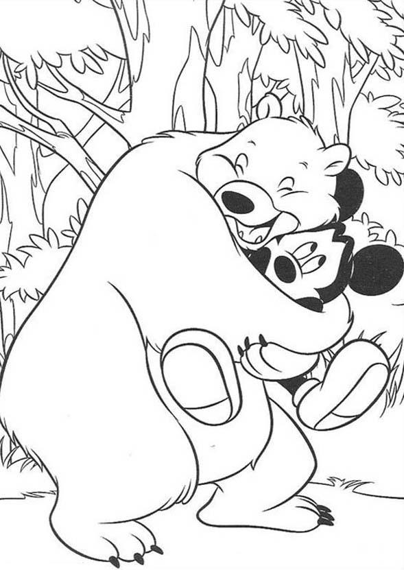 Safari, : Mickey Mouse Safari Hugged by Big Bear Coloring Page