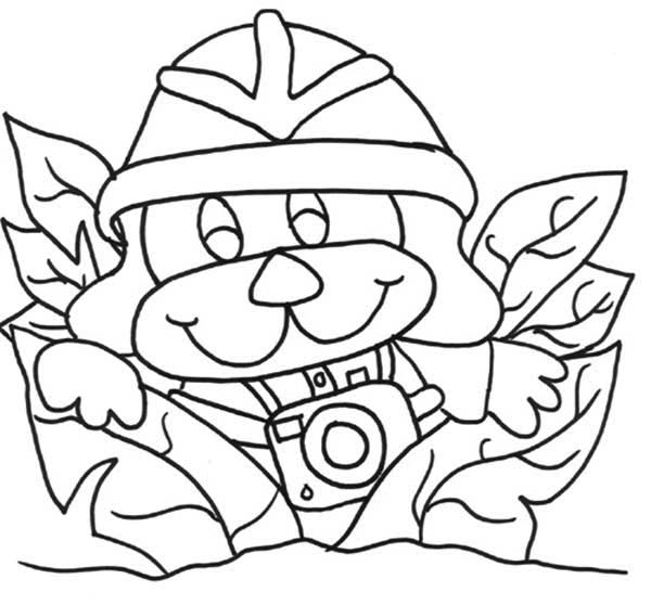 Safari, : Monkey Going Safari with Camera Coloring Page
