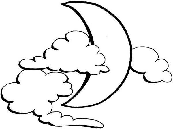Moon Covered By Clouds Coloring Page