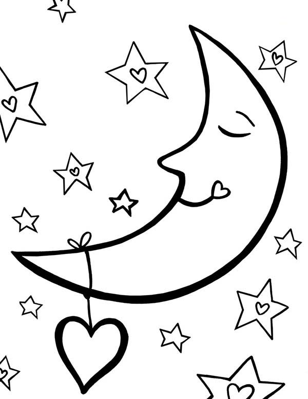 free coloring pages moon and stars | Moon Sleeping With Full Of Love Coloring Page : Coloring Sky