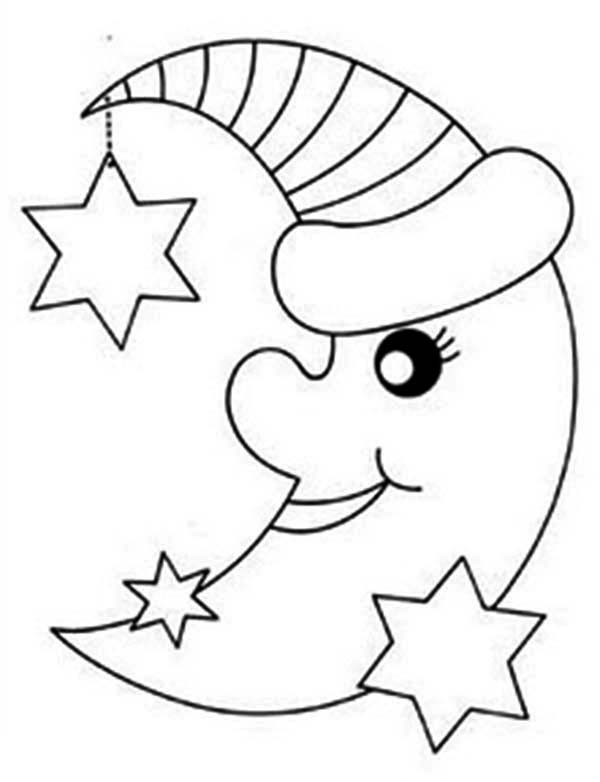free coloring pages moon and stars | Moon And Her Bestfriend Stars Coloring Page : Coloring Sky