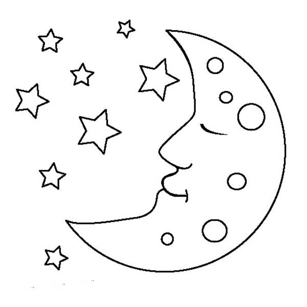 free coloring pages moon and stars | Moon Is Sleeping Coloring Page : Coloring Sky