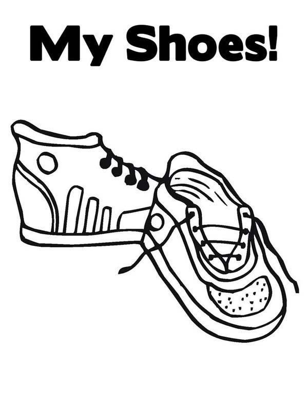 Shoes, : My Shoes Coloring Page