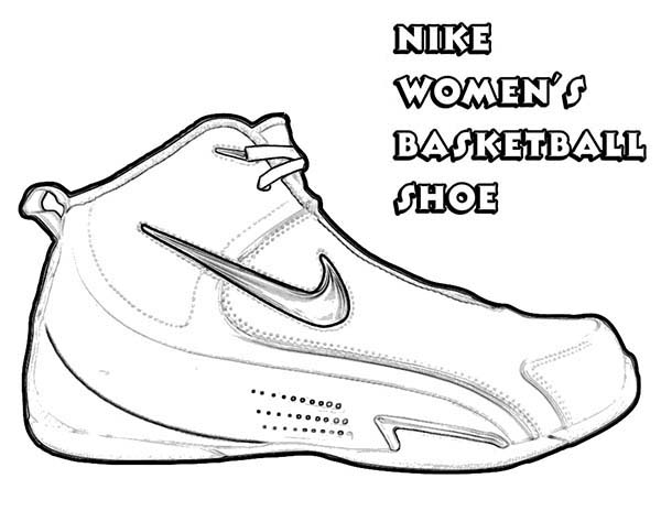 Shoes, : Nike Women Basketball Shoes Coloring Page