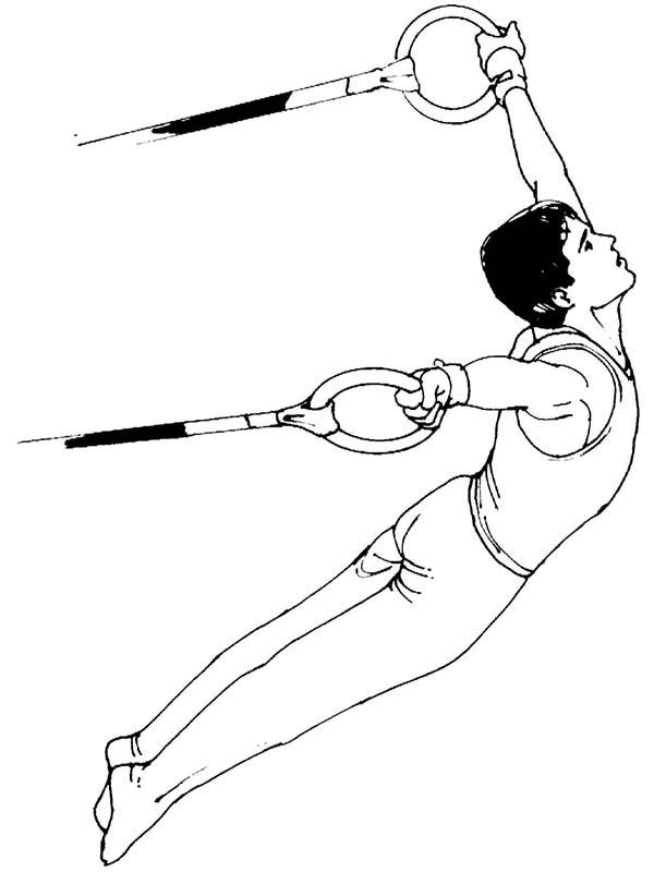 Olympic Games, : Olympic Awesome Still Rings Games Coloring Page