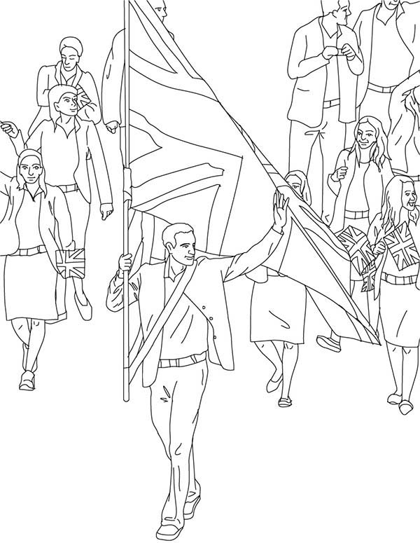 Olympic Games, : Olympic Games Contestants from United Kingdom Coloring Page