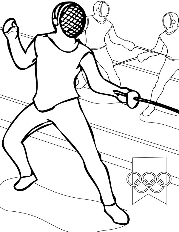 Olympic Games, : Olympic Games Fencing Coloring Page
