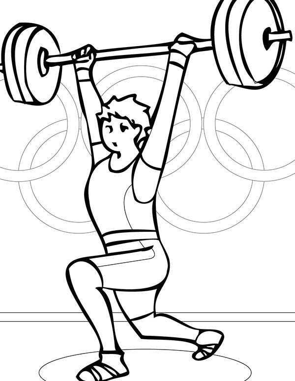 Olympic Games, : Olympic Games Wrightlifting Coloring Page